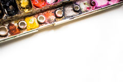 Watercolor Palette is colorful. close up and macro. Royalty Free Stock Photos