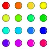 Watercolor. The palette of 16 colorful paint circles. royalty free stock image