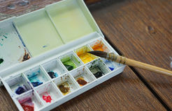 Watercolor palette , Focus on round brush Royalty Free Stock Image
