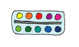 Watercolor palette. Hand-drawn doodle art supply icon. Vector illustration Stock Images