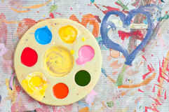 A watercolor palette Royalty Free Stock Photo