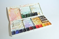 Watercolor palette on the white background stock photo
