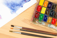Watercolor palette Stock Images