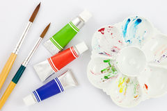 Watercolor ,palettes and brush Royalty Free Stock Photo