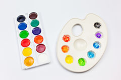 Watercolor palettes on white background Royalty Free Stock Image
