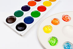 Watercolor palettes on white background royalty free stock images