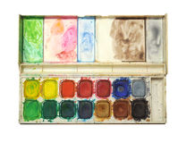 Watercolor pallet box royalty free stock photos