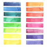 Watercolor pallet. Hand painted Watercolor rainbow stripes made in vector Stock Photos