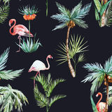 Watercolor palm pattern Royalty Free Stock Images