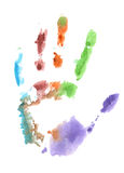 Watercolor palm prints on a white background. Colored palm print on a white background royalty free illustration