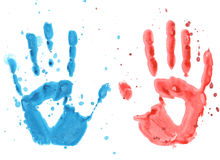 Watercolor palm prints on a white background. Two palm print blue and red on a white background royalty free illustration