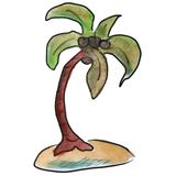 Watercolor palm tree light green cartoon figure Stock Image