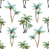 Watercolor palm trees pattern Royalty Free Stock Images