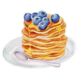 Watercolor pancakes with blueberries. Royalty Free Stock Photo