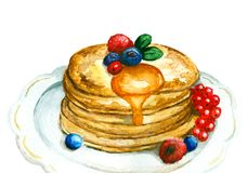 Watercolor pancakes. Watercolor delicious pancakes served with berries and honey on a white plate stock illustration