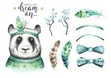 Watercolor panda illustration. Bohemian cute animal. Boho style. Stock Photography
