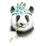 Watercolor panda illustration. Bohemian cute animal. Boho style. Stock Photo