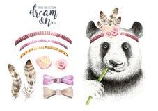 Watercolor panda illustration. Bohemian cute animal. Boho style. Royalty Free Stock Photo