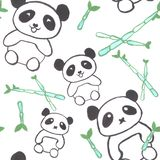 Watercolor pandas with bamboo shoots seamless wallpaper. Watercolor pandas with bamboo shoots seamless background stock illustration