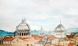 Watercolor panorama of Rome Stock Image