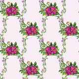 Watercolor Pansy Bouquet Pattern Stock Photos
