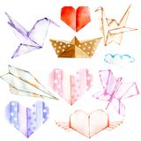 Watercolor paper origami illustrations set, hand painted isolated on a white background, for Valentine`s Day greeting card. Wedding card, romantic prints Stock Photo