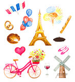 Watercolor paris icons vector illustration. Eiffel tower, bicycle with flowers, balloons, flags, fireworks and bakery mill Royalty Free Stock Images