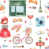 Watercolor Paris set. Beautiful seamless pattern with camera,lipstick,hat,bike,young girl,red wine,sunglasses,letter,macaroons and much more.Watercolor Paris stock illustration