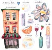 Watercolor Paris set stock illustration