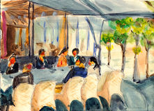 Watercolor paris street coffee bar Stock Photos