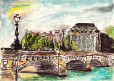 Watercolor paris street. Hand drawn on paper Royalty Free Stock Images