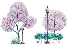 Watercolor Park with pink trees Royalty Free Stock Images