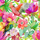 Watercolor parrots seamless pattern on tropical leaves background. Hand painted illustration with different species of parrots and exotic leaves Stock Images