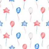 Watercolor party Balloons, 4th of July seamless pattern, Watercolor American Independence Day, Kids Party, Hand drawn paper, red