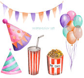 Watercolor party and circus set in the form of garland of the flags, pop corn, air balloons and party hats. Painted on a white background Stock Photography