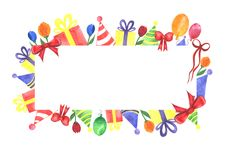 Watercolor party festive handmade banner, isolated on a white background. Watercolor party festive handmade banner. It consists of balloons, a party of caps Royalty Free Stock Image