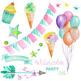 Watercolor party set in the form of garland of the flags, ice cream, air balloons, arrow, ribbon and stars Royalty Free Stock Photo