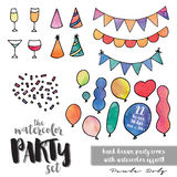 Party Icons - Watercolor. Collection of 22 party icons with watercolor effect. Includes 4 party drinks, 4 party hats, 3 party bunting flags, 10 balloons and a Royalty Free Stock Image