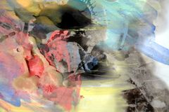 Watercolor pastel abstract background and wax forms Royalty Free Stock Photo