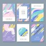 Watercolor pastel abstract backgrounds. Vector invitation cards with hand brush texture Royalty Free Stock Photo