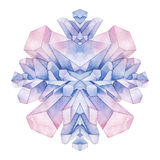 Watercolor pastel colored crystals Stock Photography
