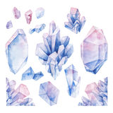 Watercolor pastel colored crystals Stock Photo