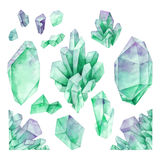 Watercolor pastel colored crystals Stock Photos