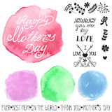 Watercolor pastel steins and headline.Mothers day Stock Photography