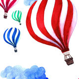 Watercolor pattern with air balloon and clouds. Hand drawn vintage collage illustration. Kids handpainted texture. Stock Photography