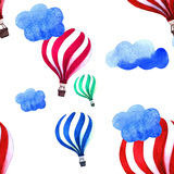 Watercolor pattern with air balloon and clouds. Hand drawn vintage collage illustration. Kids handpainted texture. Royalty Free Stock Image