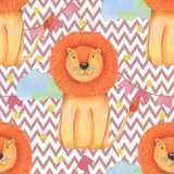 Watercolor pattern animal cute lion circus on a white background, star, garland, clouds. Hand draw illustration. Kids print Stock Photography