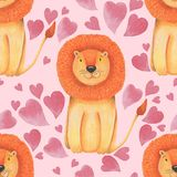 Watercolor pattern animal cute lion on a white background, heart. Hand draw illustration. Valentine`s card. Watercolor pattern animal cute lion on a white Stock Images