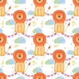 Watercolor pattern animal cute lion on a white background, star, garland, clouds. Hand draw illustration. Kids print Royalty Free Stock Images