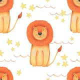 Watercolor pattern animal cute lion on a white background, star. Hand draw illustration. Kids print Royalty Free Stock Photos